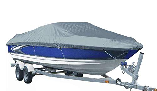 (ICEGREY Heavy Duty 300D Waterproof Boat Cover V-Hull Tri-Hull Runabout Boat Cover 208x114 inch Gray)