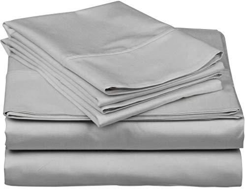 True Luxury 1000-Thread-Count 100% Egyptian Cotton Bed Sheets, 4-Pc King Silver Sheet Set, Single Ply Long-Staple Yarns, Sateen Weave, Fits Mattress Upto 18'' Deep Pocket ()
