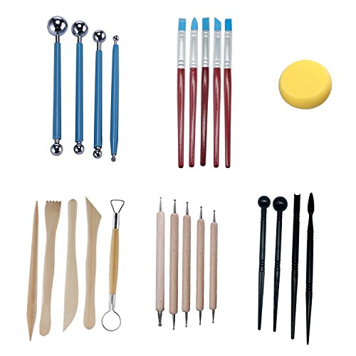 Polymer Modeling Clay Sculpting Tools, Wotwre Sculpture Pottery Carving Tool Kit 24 Pieces, Ceramic Dotting Tools for Sculpey Clay Craft Nail Art Cake Decor from Wotwre