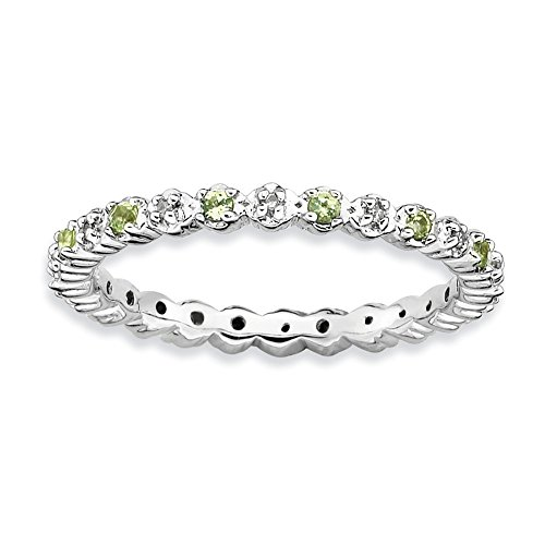 2.25mm Stackable Peridot & .04 Ctw HI/I3 Diamond Silver Band, Size 7