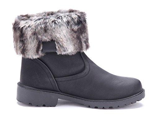 Schuhtempel24 Damen Schuhe Winterstiefeletten Stiefel Boots Blockabsatz Schlupf 4 cm Schwarz
