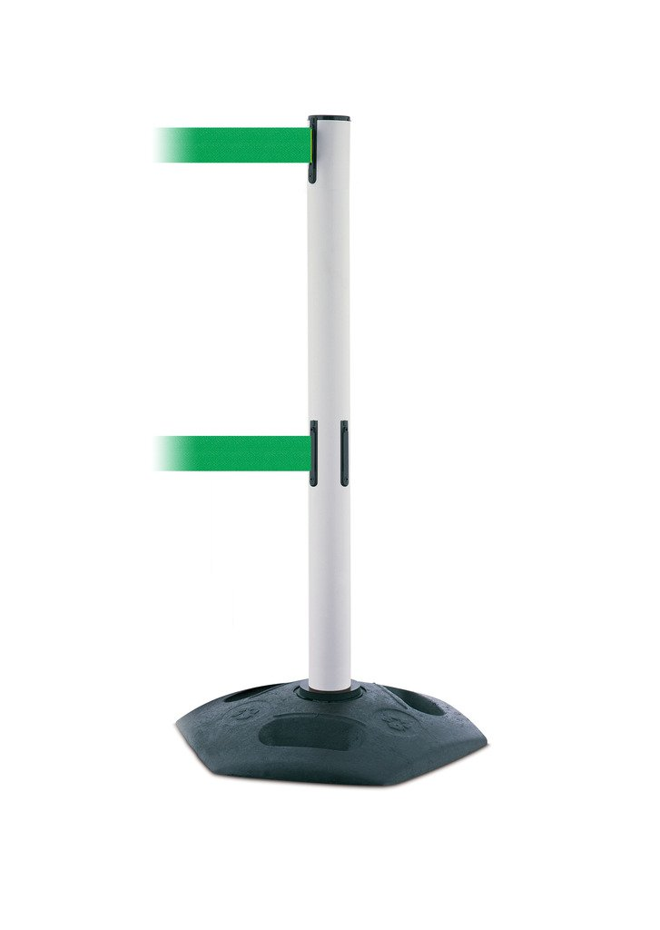 Tensabarrier 886T2-32-MAX-NO-G6X-C Heavy Duty Dual Line Outdoor Post with White Tube Maximum 13 No Custom Green Webbing Standard Belt End