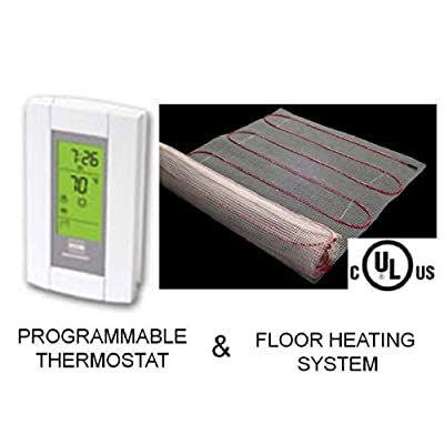 Image of 10 Sqft Mat, Electric Radiant Floor Heat Heating System with Aube Digital Floor Sensing Thermostat Home Improvements