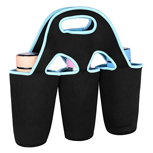 CHICTRY Coffee Carrier Tote Bag Neoprene Thermal Insulated Bottle Cup Mug Holder with Carrying Handle for Soft Drink Beverage Milk Tea Baby Bottle Black&Blue One Size