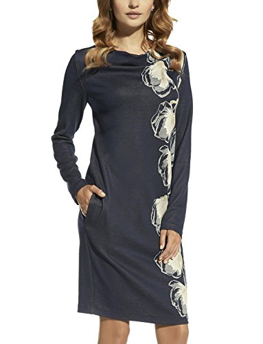 Ennywear 220047 Vestido Midi Con Motivo Floral La Manga Larga Y Escote Holgado Con Bolsillos - Hecho En La UE azul marino-beige