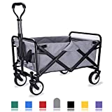 WHITSUNDAY Collapsible Folding Garden Outdoor Park Utility Wagon Picnic Camping Cart with Replaceable
