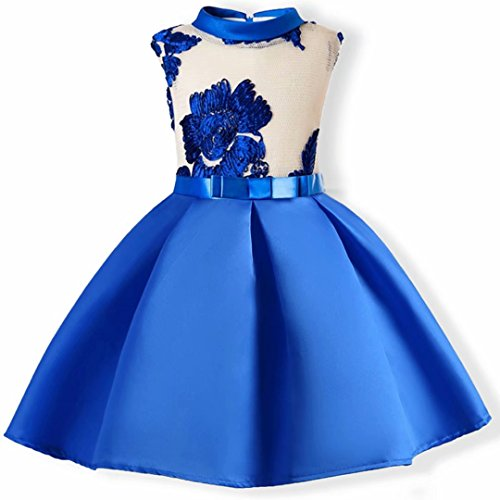 AYOMIS Flower Girl Pageant Dress Kids Party Embroidery Wedding Dresses 2-9 Years(Blue,3-4Y) by AYOMIS