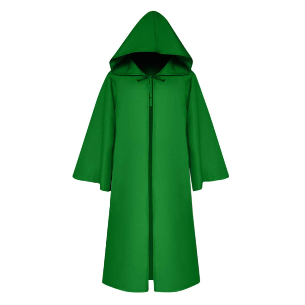 Cloak Outwear,Meetsunshine Women Men's Vintage Gothic Solid Hooded Bandage Cloak Cosplay Outwear Coat for Halloween Party Props (Green, XXL) by Meetsunshine Halloween