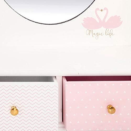 Atmosphera Créateur d'intérieur Dressing table, jewellery box with mirror - 32 x 10 x 50 cm