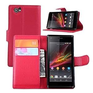 La moda de cuero flip caso de la cubierta cartera resistente a la suciedad para sony xperia m caja del teléfono capa c1905 ( Color : Marrón )