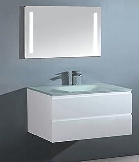 Badezimmer Schrank mit UltraClear Glas Waschbecken weiß lackiert ...