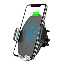 Sunvook ワイヤレス充電器 車載ホルダー スマホ 自動開閉 エアコン吹き出し口&吸盤式両用 10W/7.5W 急速ワイヤレス充電 車 すまほスタンド 360度回転 iPhone X/iPhone 8/8 Plus/XSamsung Galaxy Note 8/S8/S8+/S7/S6 Edge+/Note 5対応