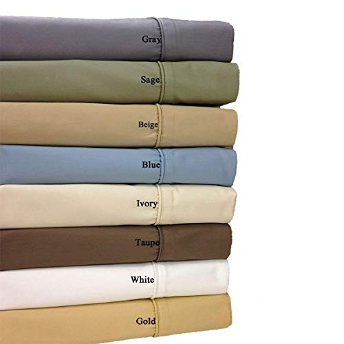 Royal Hotel Split-King: Adjustable King Size Gold 650-Thread-Count Solid Sheet Set, Cotton-Blend Wrinkle-Free ()
