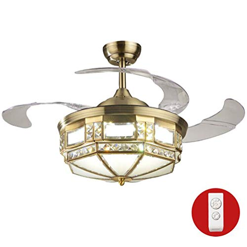 Ceiling Fan with Light Lamp 107cm ABS Invisible Fan Blade Crystal Pure Copper Lampshade LED Tricolor Dimming (Remote Control)