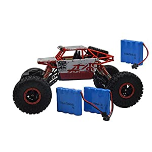 Blomiky 1:18 Scale 4WD High Speed Red Toy RC Cars Electric Buggy Hobby Off-Road RC Truck Vehicle Extra 2 Battery C181 Red