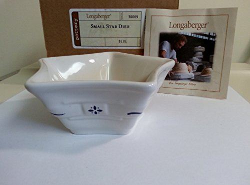 Longaberger Pottery Dish Small Star Classic Blue Made in USA