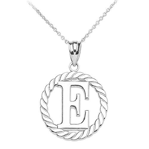 """Collier Femme Pendentif 14 Ct Or Blanc """"E"""" Initiale À Corde Cercle (Livré avec une 45cm Chaîne)"""