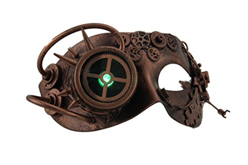 Apocalyptic Costumes - Resin Mens Costume Masks Man Droid Led Light Up Metallic Steampunk Eye Mask - 7.5 X 4 X 4.5 Inches - Copper - Style # 17789