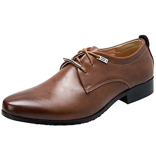 Derby Wealsex De Cuero Puntera Hombres Zapatos Negocios Marrón Hombre Para Transpirable Apuntado brogues OOqxHAw