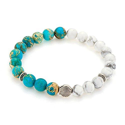 POSHFEEL Healing Balancing Stretch Bracelet 8mm Sea Sediment Jasper&White Howlite Beads, 7.5