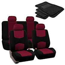 FH GROUP FH-FB050114 + C14403: Burgundy Modern Flat Cloth Seat Covers and Black Carpet Floor Mats- Fit Most Car, Truck, Suv, or Van