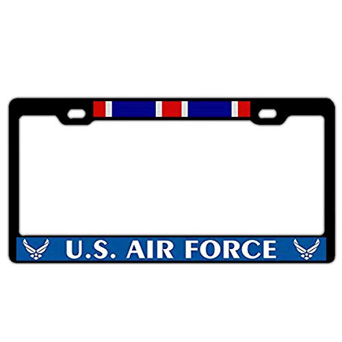 Hopes's Black Aluminum Metal License Plate Frame Cover - Humor Funny License Plate Holder 2 Hole Including Screws - US Air Force Outstanding Unit - Awards Outstanding