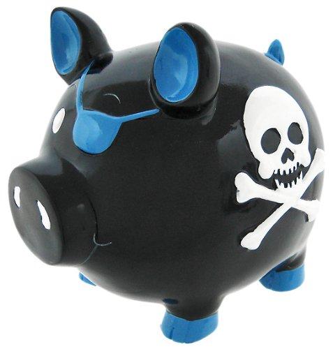 Black Pirate Pig Blue Skull & Crossbones Piggy Bank - Pirate Bank Piggy