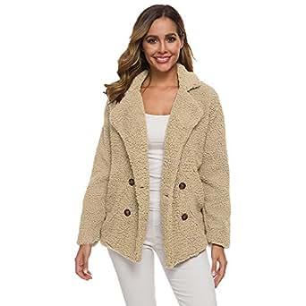 BOZEVON Womens Open Front Coats - Fashion Long Sleeve Faux Shearling Shaggy Oversized Sherpa Jacket with Pockets Warm Winter,Beige/S
