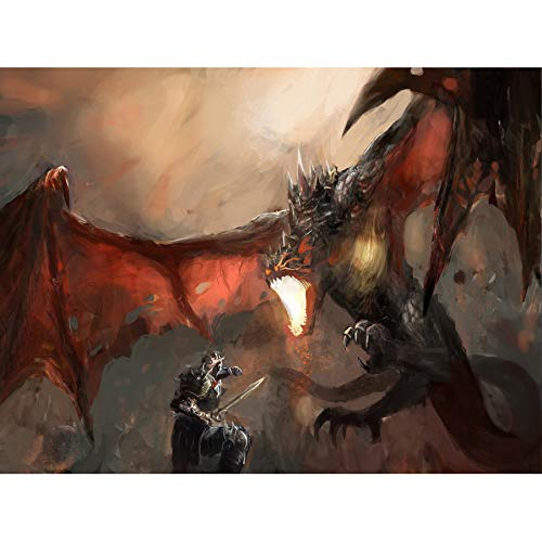Dragon Slayer Poster - Wee Blue Coo Painting Drawing Fantasy Dragon Slayer Battle Cool Large Art Print Poster Wall Decor 18x24 inch