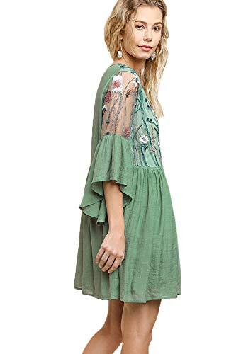 (Umgee Boho Bliss! Plus Size Embroirdered Bell Sleeve Dress (Sage3-M))
