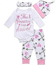 Luiryare Clothing 4Pcs Newborn Baby Girl Clothes Aunties Bestie Romper Bodysuit Tops Arrows Love Pants Headban