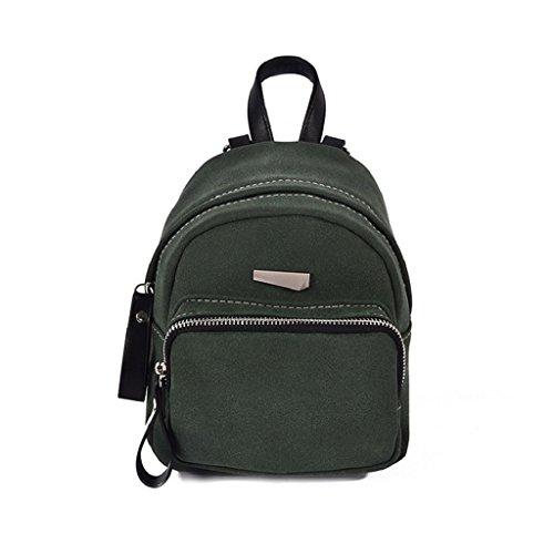 Ammazona Ladies' School Windbag Bag Vintage Scrub Shoulder Bag Mini Backpack (Green)