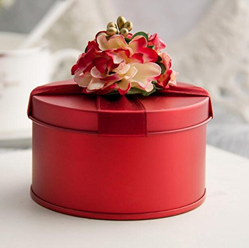 Yunyou Crafts 50pcs Red Candy Box Tinplate Iron Bride Groom Wedding Candy Box Birthday Party Gift Box