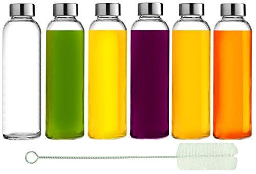 Brieftons Glass Water Bottles: 6 Pack, 18 Oz, Stainless Steel Leak-Proof Lid, Premium Soda Lime, Best As Reusable Drinking Bottle, Sauce Jar, Juice Container, Kombucha Kefir Kit - With Cleaning Brush