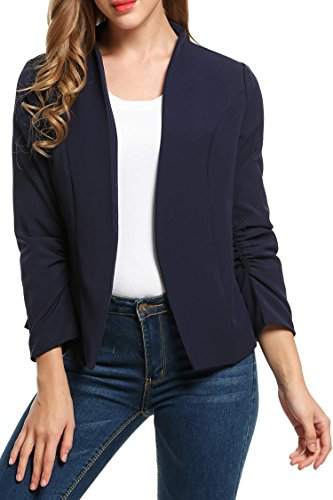 Beyove Women's Cotton Rolled Up Sleeve No-Buckle Blazer Jacket Suits Navy Blue/S (Design Cotton Suit)