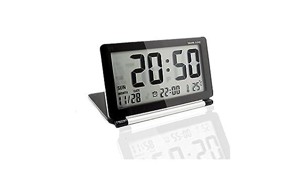 KLAREN Multifunción Silent LCD Digital Grande Protector de Viaje Escritorio Reloj Despertador electrónico: Amazon.es: Hogar