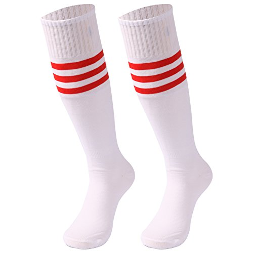 Football Socks Plus Size, saounisi Unisex Volleyball Soccer Athletic Sports Knee High Tube Cheering Squad Socks 2 Pairs Red Stripe