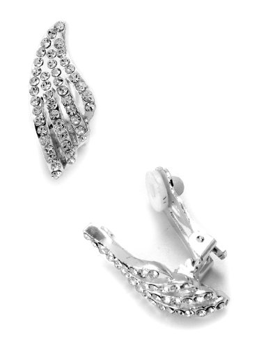 Topwholesalejewel Bridal Earrings Silver Crystal Rhinestone Wave Shape Clip Earrings