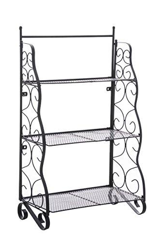 CLP Metall-Standregal SARAH, B-Ware, ca. 50 x 25 cm, Höhe ca. 80 cm, aus Eisen, klappbar, 3 Böden schwarz