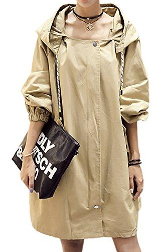 Chaqueta Outwear Mujeres Cordon Sólido Invierno Con Estilo Hoodie BF Corse Khaki Zip wz7U6wvq