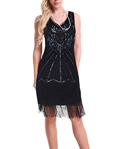 Women's 1920s Gatsby Dress - Pendant Deco Fringed Roaring 20s Themed Party Cocktail Dress (Black, XL) -
