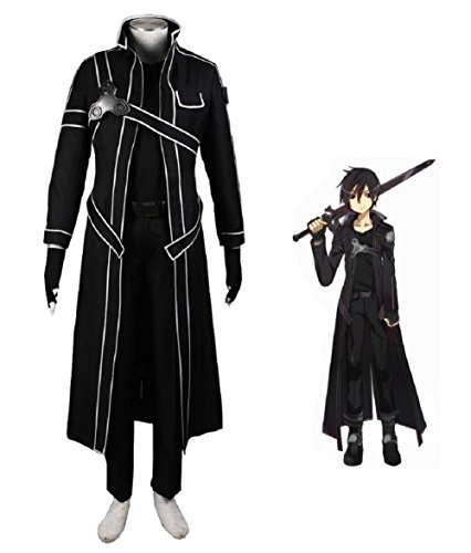Sword Art Online Kazuto Kirigaya Cosplay Costume (Sword Art Online Kazuto Kirigaya Kirito Anime Cosplay Costume-Male-X-Large)