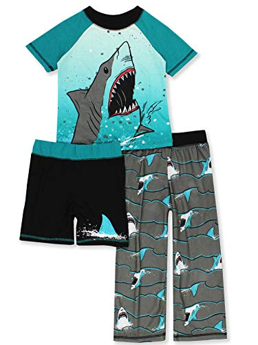 Komar Kids Shark Boy's 3 Piece Top Shorts Pants Pajamas Set (X-Small (4-5), Teal/Black)