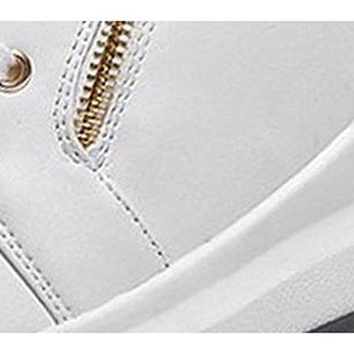 HSXZ Damenschuhe PU Winter Stiefel Combat Stiefel flachem Absatz Runder Mid-Calf Stiefel Winter für Casual Weiß Schwarz Weiß 427622