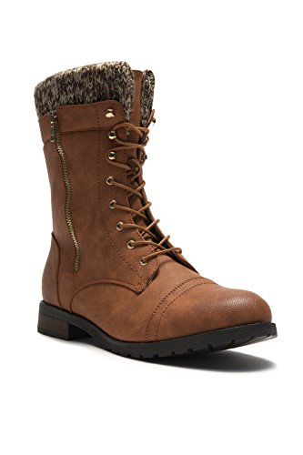 HerStyle Araviia Womens Sweater Cuff Lace Up Combat Boots Zip Decor Low Heel Lug Sole Military Ankle Booties Tan 2ZdKq