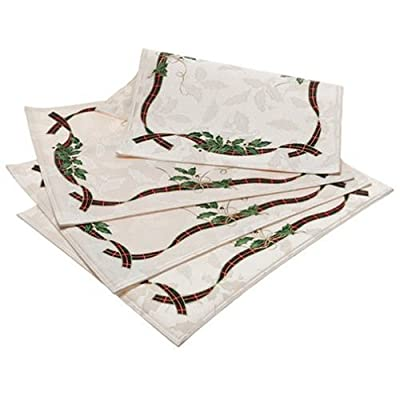 Lenox Holiday Nouveau Placemats, Set of 4 - Elegant and colorful Holiday Nouveau linens from Lenox 58 percent cotton and 42 percent polyester ivory jacquard damask Pattern features lively holly leaves, flowing tartan bands, and gold ribbon - placemats, kitchen-dining-room-table-linens, kitchen-dining-room - 41FDXjfmieL. SS400  -