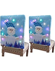 SUFUBAI 2 Pack Christmas Chair Covers Decoration, Christmas Dining Chair Covers Slipcovers Xmas Chair Covers with Colorful LED Light for Xmas Festive Home Dinner Decor