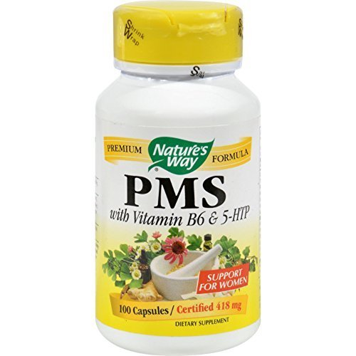 Natures Way PMS with Vitamin B6 and 5-HTP - 100 Capsules - pack of - 5