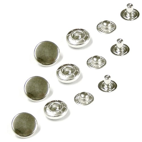 Press studs for Sewing Leather craft Solid Brass Material. Belts Nickel Free Poppers Clothes or Bags 10 sets of 15mm snaps in Silver colour Snap fasteners