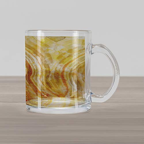 Lunarable Marble Glass Mug, Hazy Ceramic Style Background with Lines Blurry Swirled Stripes Artsy Image, Printed Clear Glass Coffee Mug Cup for Beverages Water Tea Drinks, Marigold Sand Brown